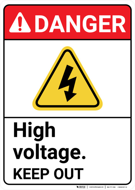 Danger: High Voltage Keep Out Portrait ANSI - Wall Sign