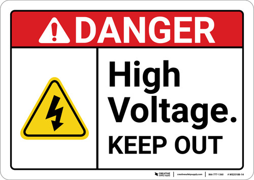 Danger: High Voltage Keep Out with Graphic ANSI - Wall Sign