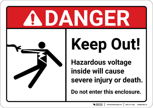 Danger: Keep Out Hazardous Voltage ANSI - Wall Sign