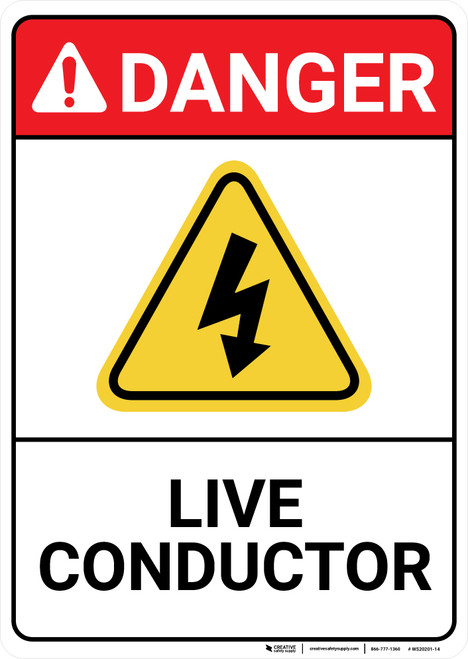 Danger: Live Conductor with Graphic ANSI - Wall Sign
