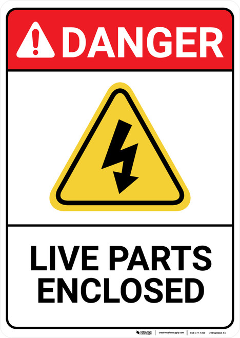 Danger: Live Parts Enclosed with Graphic ANSI - Wall Sign