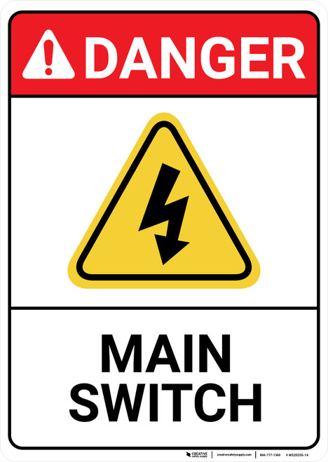 Danger: Main Switch with Graphic ANSI - Wall Sign