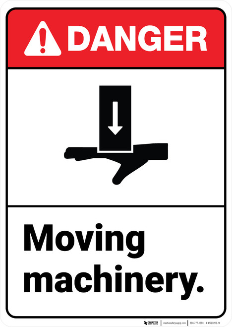 Danger: Moving Machinery with Graphic ANSI - Wall Sign