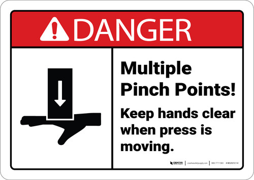 Danger: Pinch Points Keep Hands Clear Press Moving With Icon ANSI - Wall Sign