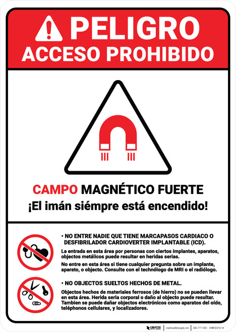 Danger: Prohibited Magnetic Fields Spanish ANSI - Wall Sign