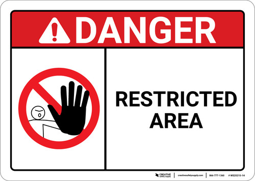 Danger: Restricted Area With Icon ANSI - Wall Sign