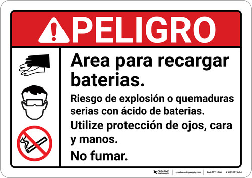 Danger: Battery Charging Area Spanish ANSI - Wall Sign