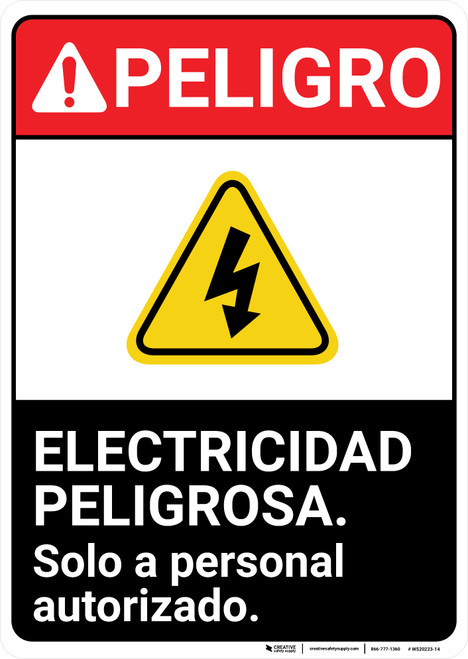 Danger: Electrical Hazard Authorized Personnel Only Portrait Spanish ANSI - Wall Sign
