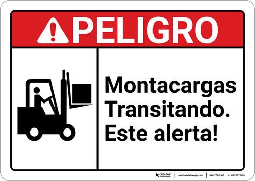Danger: Forklift Traffic Spanish ANSI - Wall Sign
