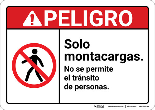 Danger: Forklifts Only Spanish ANSI - Wall Sign