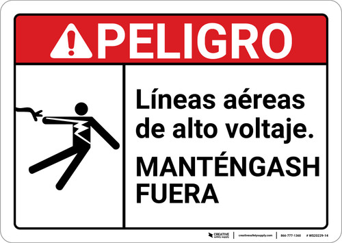 Danger: Hazardous Voltage Peligro Lineas Aereas Spanish ANSI - Wall Sign