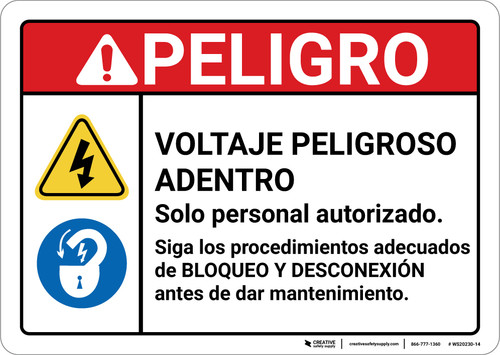 Danger: Hazardous Voltage Solor Personal Autorizado Spanish ANSI - Wall Sign