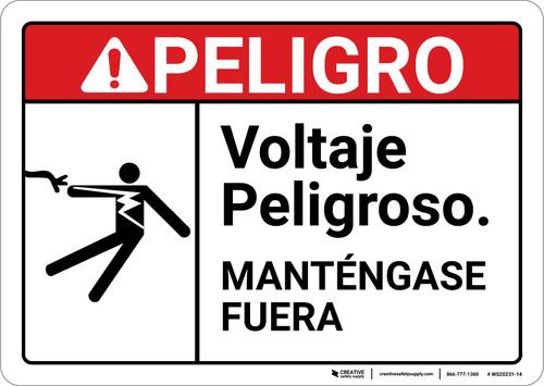 Danger: Hazardous Voltage Spanish ANSI - Wall Sign