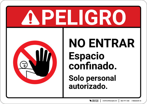 Danger: No Entry Confined Space Authorized Personnel Only Spanish ANSI - Wall Sign