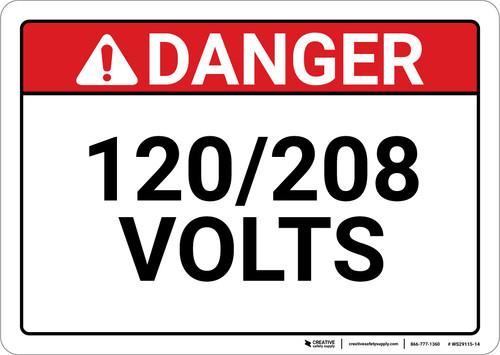Danger: 120/208 Volts - Wall Sign