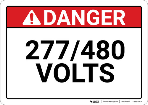 Danger: 277/480 Volts - Wall Sign