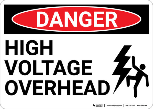 Danger: High Voltage Overhead with Graphic - Wall Sign