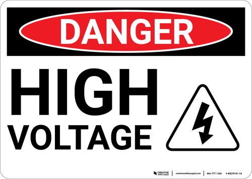 Danger: High Voltage With Hazard Icon - Wall Sign