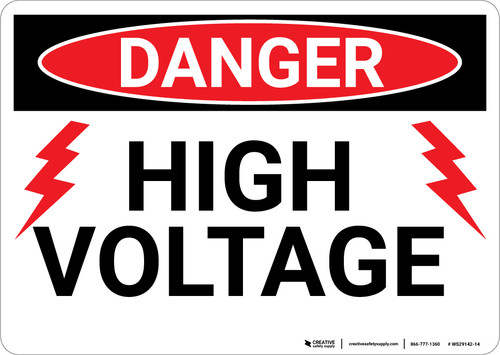 Danger: High Voltage With Lightning Bolts - Wall Sign