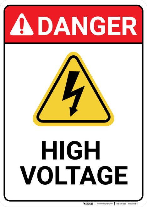 Danger: High Voltage With Yellow Hazard Portrait - Wall Sign