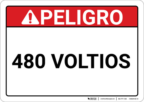 Danger: Spanish 480 Voltios - Wall Sign