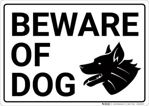 Beware Of Dog with Icon Landscape - Wall Sign