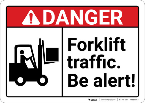 Danger: Forklift Traffic Be Alert ANSI with Icon Landscape ANSI - Wall Sign