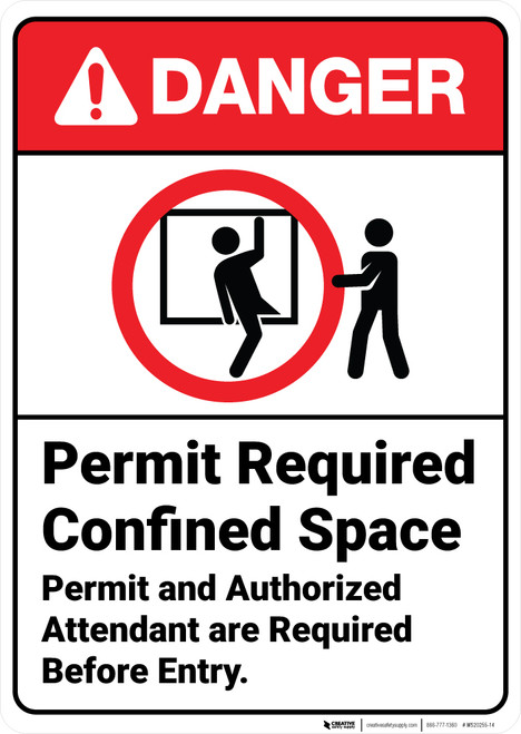Danger: Permit Required Confined Space with Icon ANSI - Wall Sign