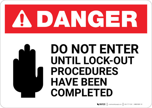 Danger: Do Not Enter Lockout Procedures with Icon Landscape - Wall Sign