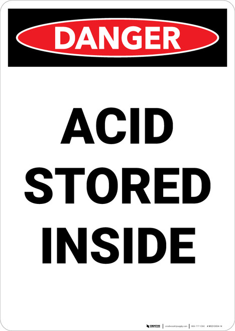 Acid Storage Inside - Portrait Wall Sign