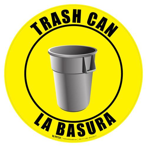 Trash Can Sign - English and Spanish