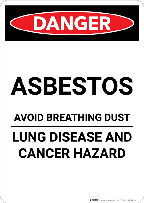 Asbestos Avoid Breathing Dust - Portrait Wall Sign