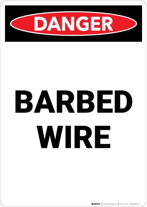 Barbed Wire - Portrait Wall Sign