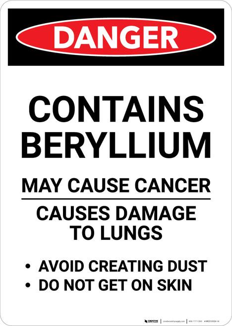 Beryllium Cancer Hazard - Portrait Wall Sign
