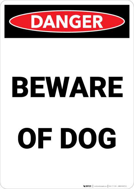 Beware of Dog - Portrait Wall Sign