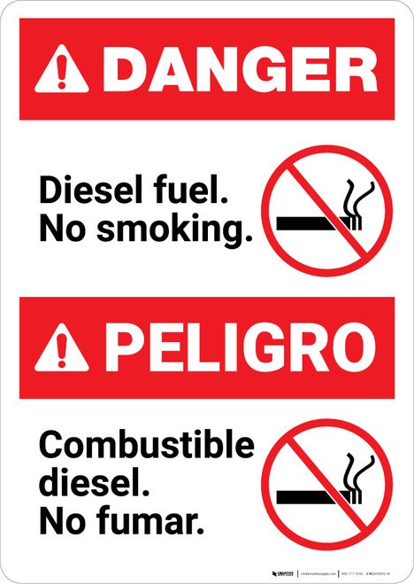 Bilingual Diesel Fuel No Smoking Spanish - Portrait Wall Sign