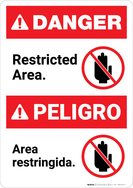 Bilingual Restricted Area Spanish - Portrait Wall Sign