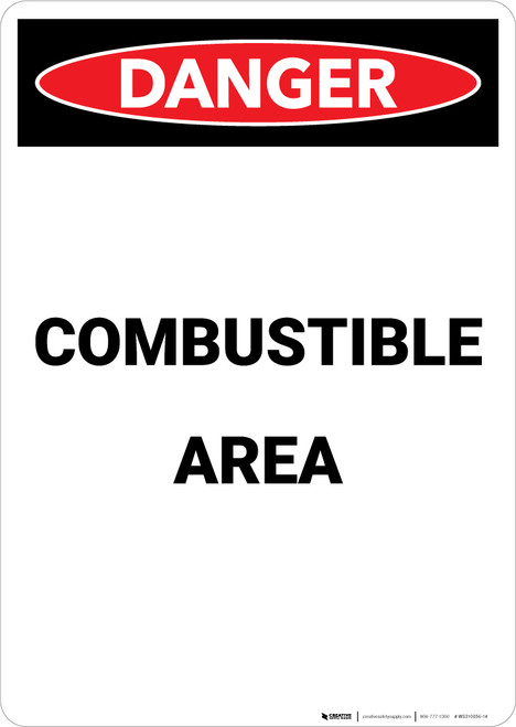 Combustible Area - Portrait Wall Sign
