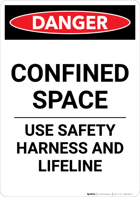 Confined Space Use Safety Harness - Portrait Wall Sign