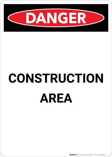 Construction Area - Portrait Wall Sign