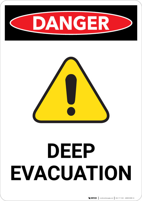 Deep Evacuation with Hazard Icon - Portrait Wall Sign