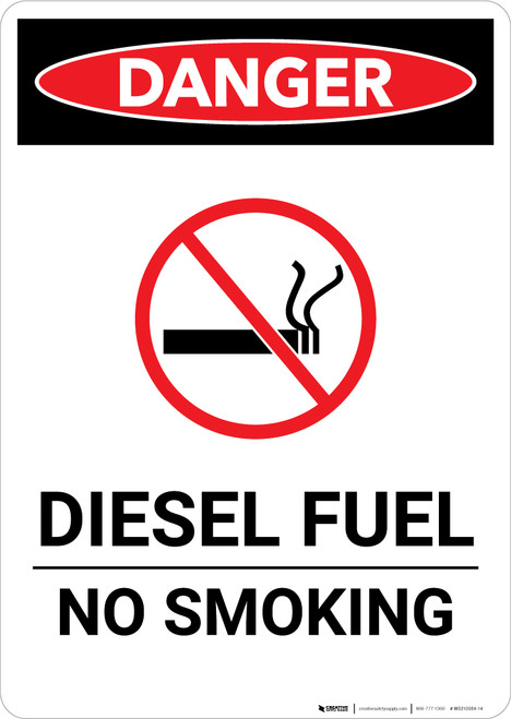 Diesel Fuel No Smoking - Portrait Wall Sign