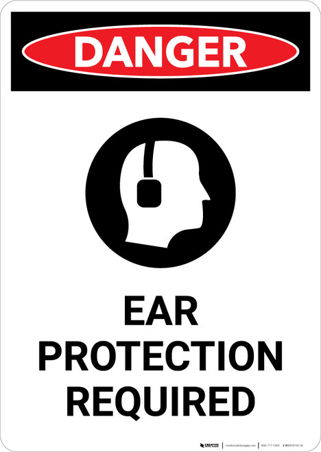 Ear Protection Required with Graphic - Portrait Wall Sign