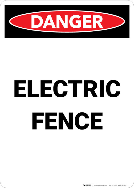 Electric Fence - Portrait Wall Sign