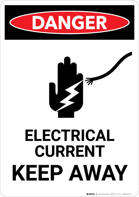 Electrical Current Keep Away With Icon - Portrait Wall Sign