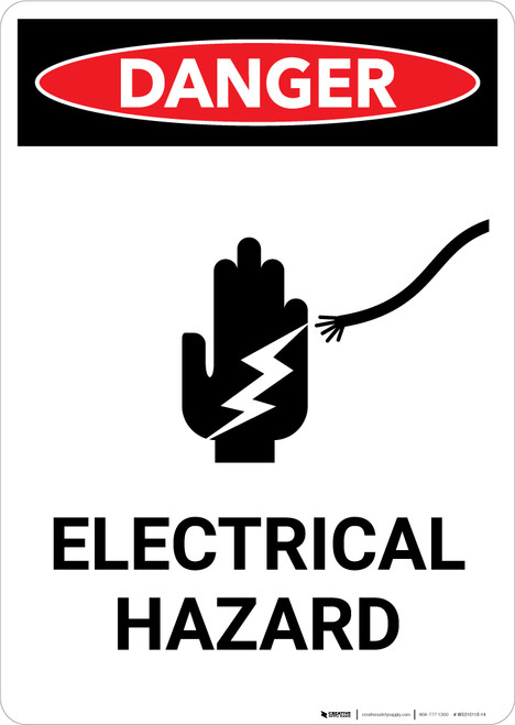 Electrical Hazard with Icon - Portrait Wall Sign
