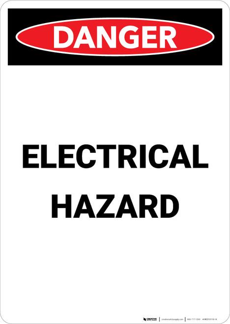 Electrical Hazard - Portrait Wall Sign