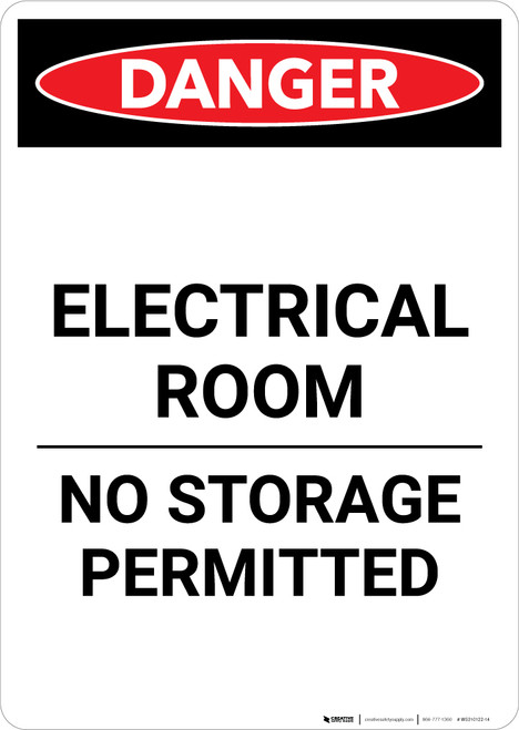 Electrical Room No Storage - Portrait Wall Sign