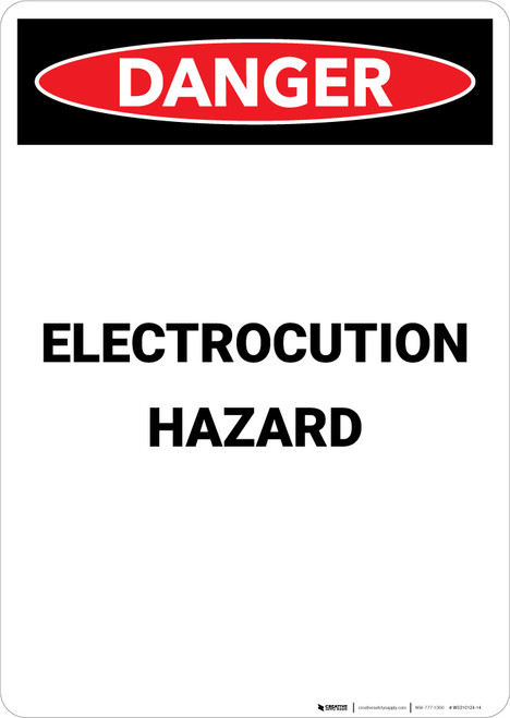 Electrocution Hazard - Portrait Wall Sign