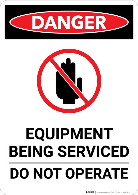 Equipment Being Serviced with Icon - Portrait Wall Sign